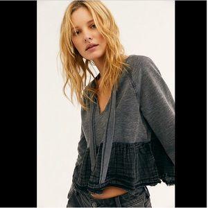 NWT Free People Sweet Jane Tonal Peplum Sweatshirt